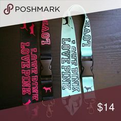 X2 love pink lanyards Nwot Accessories Key & Card Holders