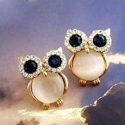 Lovely Owl Opal Animal Stud Earrings