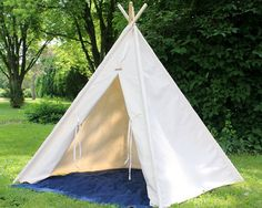 This natural canvas teepee is the perfect space for years of imaginative play!  Assembled size is as follows:  48 square INSIDE base. Outside