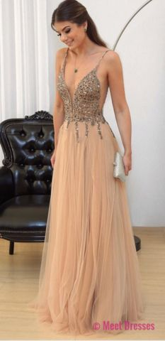 Champagne Tulle Beaded Prom Dresses A-line Long Evening Dresses Deep V Neck Formal Gowns Sexy Spaghetti Straps Party Pageant Dresses PD20189653