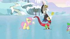#887247 - animated, discord, fluttershy, ice skates, keep calm and flutter on, necklace, safe, spike - Derpibooru - My Little Pony: Friendship is Magic Imageboard