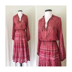 Vintage 70s Malaysian Dress // Ethnic Peasant Dress // 1970s Bohemian Dress // Red Sheer Cotton // Hippie Boho Festival Dress Size Small Med