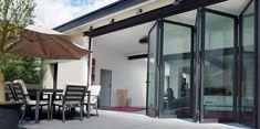 Glasfalttüren für Terrasse mit versenkbarer flacher Bodenschiene