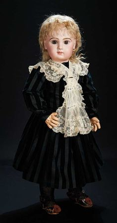 Pretty French Bisque Brown-Eyed Bebe by Emile Jumeau, Size 12, with Original Wig 3200/3800