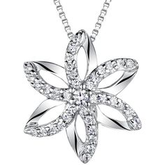 Jools by Jenny Brown Sterling Silver Pave Flower Pendant (2 515 UAH) ❤ liked on Polyvore featuring jewelry, pendants, sterling silver charms pendants, polish jewelry, sterling silver pendants, charm pendants and chains jewelry