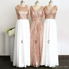 Rose Gold Sequin Bridesmaid Dresses 2016 3 Style A Line Floor Length Maid  Of Honor Bling Long Plus Size Pregnant Maternity Prom Gowns Light Purple ... 3976c1f766e7