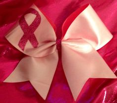 White Satin Breast Cancer Awareness Cheer Bow 10.00