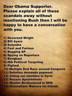 Explain these scandals without mentioning George Bush.