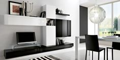 black and white modern living room plasma TV stand