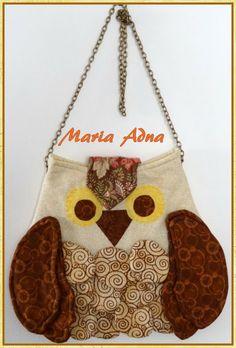 Maria Adna Ateliê: Patchwork e apliquê: panôs, bolsas, mantas, infantis, almofadas, bonecas, quilts: Bolsinha da Coruja