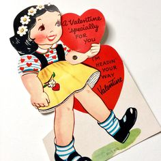 Vintage 1950s Valentines Card / UNUSED 7 Articulated