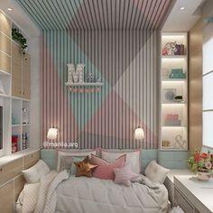 Quarto de menina | Criamos o quarto para a Marina de 9 anos, um local para ser o refúgio dela. As cores escolhidas estão na cartela dos tons pastel. O ponto alto do projeto é a parede geométrica ripada, inusitada, ela confere um toque de personalidade e moderniza o espaço.Ficou uma atmosfera romântica e calma né?! Ela amou e vocês ?! 🌸😍 Ideas Para, Kids Room, Sweet Home, Room Decor, Curtains, Bedroom, Toque, Furniture, Pastel