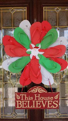 Beautiful & Unique Handmade Flip Flop Wreath by TheFlipFlopDaisy, $50.00