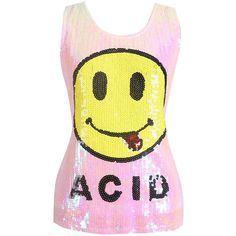 Womens Chic Sequined Emoji Pattern Tank Top Pink ($16) ❤ liked on Polyvore featuring tops, pink, pink singlet, pattern tops, pink sequin tank, yellow tank top and sequin top