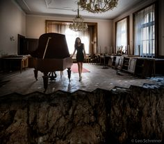 abandoned ballroom, hotel piano, left behind photography, Abandoned Buildings, Abandoned Places, Conference Room, Piano, Table, Photography, Furniture, Home Decor, Derelict Places