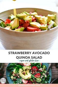 Strawberry Avocado Salad, Avocado Quinoa, Quinoa Salat, Avocado Salad Recipes, Vegetarian Salad Recipes, Avocado Salat, Summer Salad Recipes, Salad Recipes For Dinner, Cucumber Avocado Salad