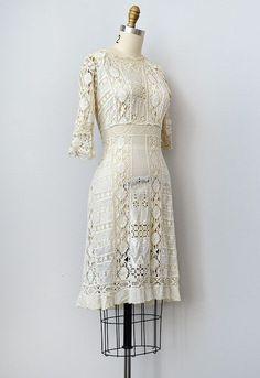 Antique Edwardian lace crochet dress - Click Image to Close 20s Fashion, Timeless Fashion, Vintage Fashion, Pretty Dresses, Beautiful Dresses, Day Dresses, Girls Dresses, Vintage Dresses, Vintage Outfits