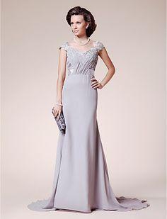 A-line Straps Court Train Chiffon Lace Mother of the Bride Dress - GBP £ 66.99
