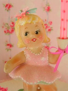 SALE....Adorable Girl Vintage Candle Holder Gift by KittyKatDance, $46.00