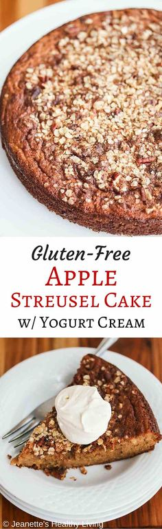 Gluten-Free Apple Streusel Cake - this is the perfect Fall cake - it's even healthy enough for breakfast ~ http://jeanetteshealthyliving.com
