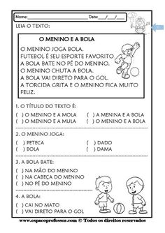 TEXTOS CURTOS COM INTERPRETAÇÃO 1º ANO FUNDAMENTAL Briam, Sistema Solar, Learning Italian, School Psychology, A30, Too Cool For School, Curriculum, Activities, Bento