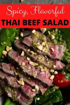 This spicy Thai Beef Salad Recipe is packed with Thai flavors such as fish sauce, lime, lemongrass, chilies and garlic and on the table in 15 minutes. Juicy seared beef, bright and fresh greens and vegetables, and a dressing that will bring you to your knees, this spicy Thai Beef Salad is the stuff dreams are made of. Plus, the fact that it's so easy and ready to eat in 15 minutes is a huge plus for all you busy people!