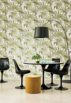 KWAI by Zoom // Phayao Greenery // Phayao plays with shadow and light to create movement and depth in each leaf bringing the wallcovering alive. Interior Decorating, Interior Design, Contemporary Interior, My Dream Home, Interior Inspiration, Greenery, Dining Chairs, Wallpaper, Furniture