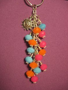 Pink Blue and Orange Glass Beaded Purse Charm / by FoxysFunDangles