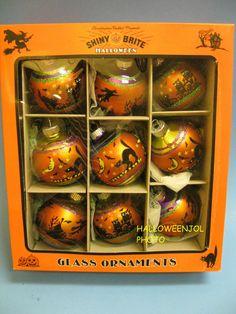 RADKO ORNAMENTS Black Cat Shiny Brite 9 FLOCKED Owls Witch Halloween NEW in BOX