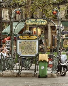 Gare du Nord Metro entrance Paris, France  ~~  Gare du Nord is the busiest station of the Paris Métro, handling 95.6 million entries/exits a year.)