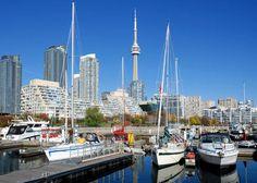 Toronto skyline with sailboats
