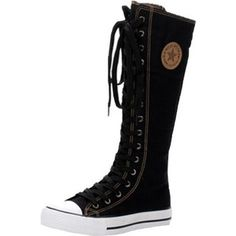 Womens Girls Punk Classic Fashion High Top Knee High canvas boots sneaker shoes