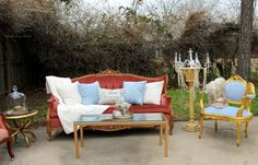 Rent My Dust Vintage Lounge Area's for Your Wedding! - Blog - RENT MY DUST Vintage Rentals. This is for the pink bride or Shabby Chic Bride featuring our Rosy Couch & blue Belle Chair. #vintagerentals #weddinglounges