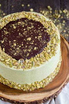 This layered Chocolate Pistachio Cake will turn heads! Rich decadent chocolate cake slathered in light, creamy pistachio frosting. It looks just as good as it tastes. Decadent Chocolate Cake, Homemade Chocolate, Chocolate Ganache, Tarta Chocolate, Baking Recipes, Cake Recipes, Dessert Recipes, Mini Cakes, Cupcake Cakes