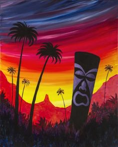 Learn to Paint Tiki Island tonight at Paint Nite! Our artists know exactly how to teach painters of all levels - give it a try! Tiki Totem, Tiki Lounge, Tiki Art, Paint And Sip, Happy Fun, Learn To Paint, Art Images, Painting & Drawing, Island