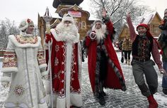 Russian Father Frost and his granddaughter Snowmaid girl show their Norwegian brother Julenissen their Moscow residence.