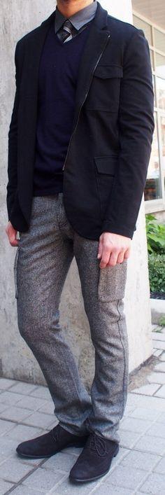 John Varvatos jacket $118, John Varvatos merino wool sweater $185, A Christensen tie $95, John Varvatos tweed cargo pant $275 from Gotstyle Menswear.