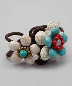 Turquoise & White Flower Cluster Cuff   zulily