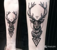 Deer dotwork tattoo by Masachist
