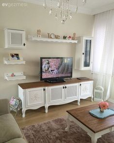 Ahşap, Country, Raf, Salon, Tv ünitesi We believe that tattooing can be a method that has been used since enough … Decor, Tv Unit, Room, White Shabby Chic, Shabby Chic Tv Stand, Country Decor, Home Decor, Country Shelves, Drawing Room Furniture