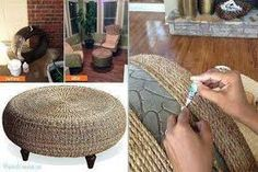 upcycled furniture ideas - the cutest rope footstool made from an old tyre! Ingenious