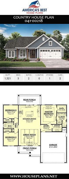 Country House Plan - A cozy place to call home, Plan offers a Country home design complete with - House Plans One Story, New House Plans, Dream House Plans, Small House Plans, House Plans With Garage, Home Plans, 1 Story House, Home Design, Country House Design