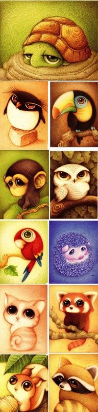 Animals with large eyes. love animals with large eyes: милые рисунки, рисун Cute Animal Drawings, Cute Drawings, Awesome Drawings, Illustrator, Drawn Art, Love Art, Painting & Drawing, Amazing Art, Art Projects