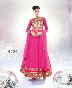 Pink georgette embroidered semi_stitched salwar with dupatta