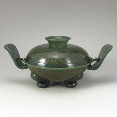Superb Hand Carved Chinese Natural Green Hetian Jade 3 Leg Incense Burner