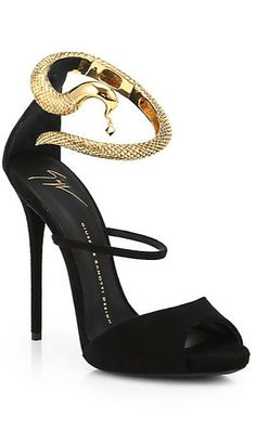 $1695.00 Giuseppe Zanotti ~ Suede Snake-Strap Sandals. A goldtone snake charms its way around the top of this ankle-strapped silhouette, meticulously crafted in luscious Italian suede. ~ BUY HERE>> http://rstyle.me/n/is4zkrm5w #gIUSEPPEzANOTTI #SNAKE #SANDALS