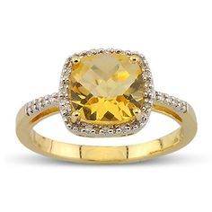 Checkerboard Cut Citrine Round Diamond Gemstone Ring In 14K Yellow Gold    $358.00