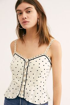01a96201f1ca True To The Heart Tank - White Button Up Tank Top with Black Heart Pattern -