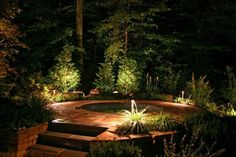 éclairage extérieur en projecteurs LED parmis les plantes