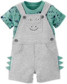 Carters Baby Boys Cotton Dino-Print T-Shirt & Short Overall Set - Baby Boy Shorts - Ideas of Baby Boy Shorts Niñas Carters Baby, Carters Baby Clothes, Baby Boy Summer Clothes, Babies Clothes, Babies Stuff, Baby Outfits, Kids Outfits, Baby Set, Baby Boy Fashion